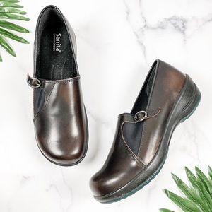 NEW Sanita 41 10 Dark Brown Leather Slip On Clogs
